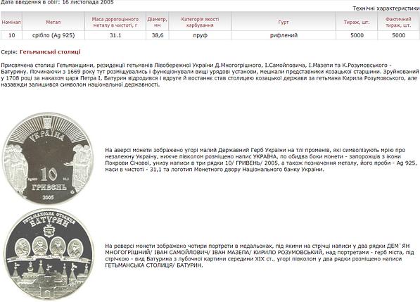 Батурин Срібна монета 10 гривень срібло 31,1 грам, фото 2