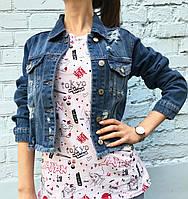 Джинсовая куртка женская укороченная с потертостями