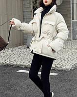 Куртка пуховик женская с поясом (белая)