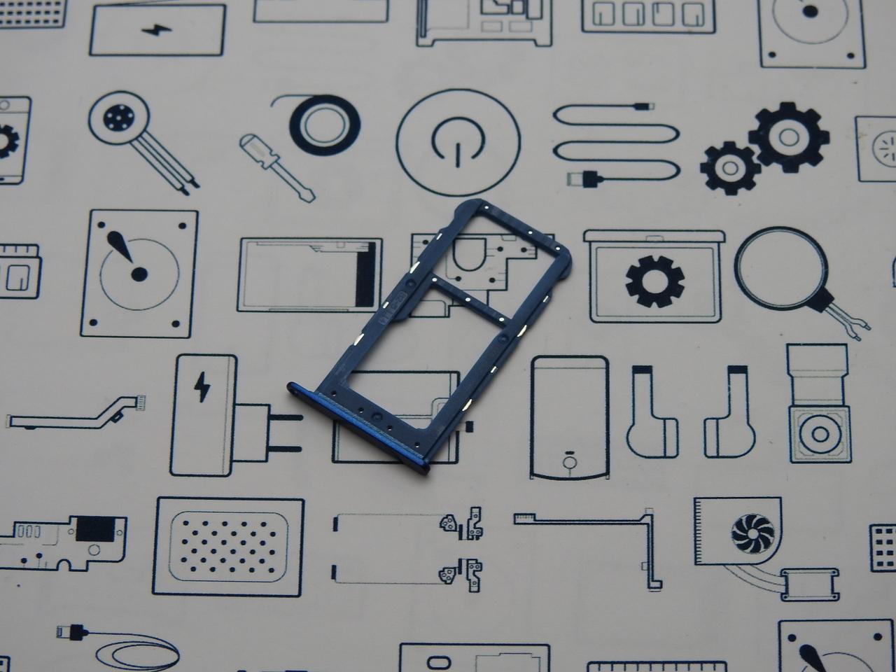 Держатель сим карты Honor 9 Lite (LLD-L31) синий новый Сервисный оригинал