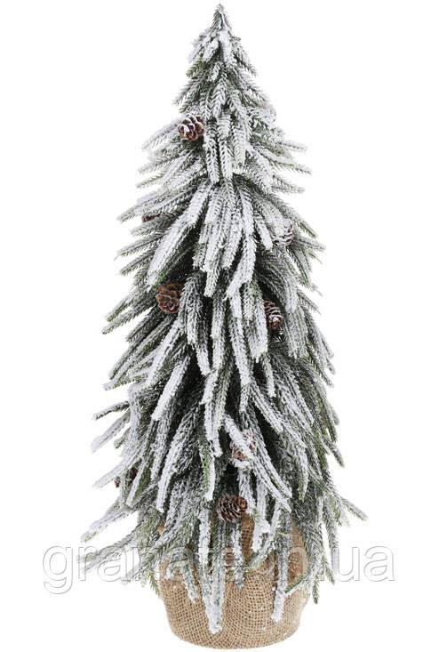 Елка декоративная заснеженная в джутовом мешочке с шишками 52 см