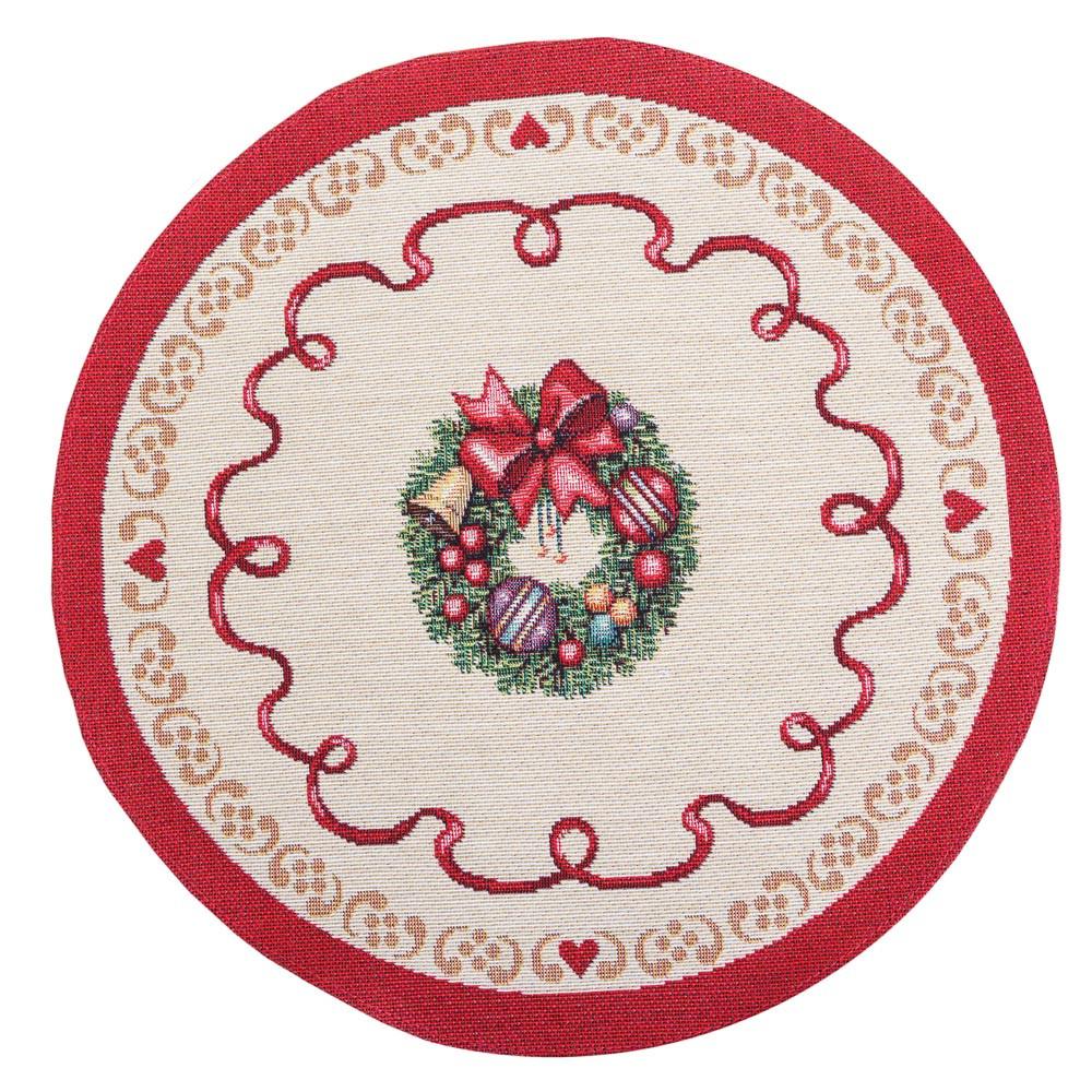 Салфетка под тарелку тканевая гобеленовая новогодняя круглая диаметр 30 см новорічна серветка