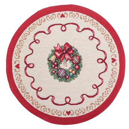 Салфетка под тарелку тканевая гобеленовая новогодняя круглая диаметр 30 см новорічна серветка, фото 2