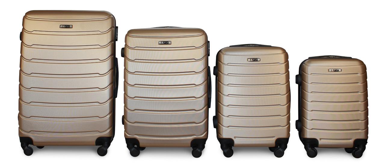 Набор чемоданов 4 штуки в 1 Fly 147 на 4 колесах Золотистый