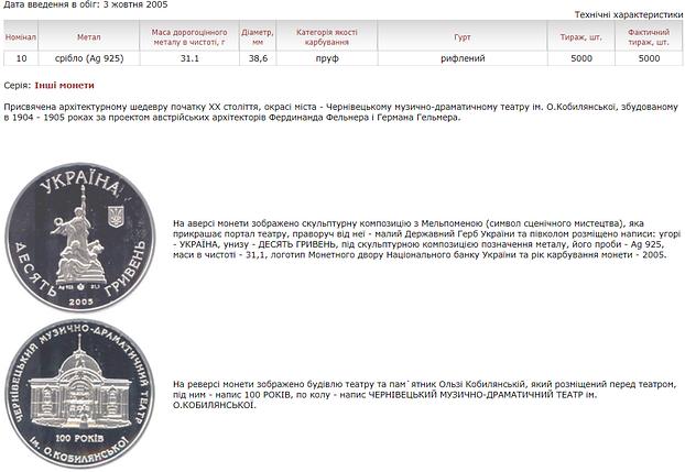 100 років Чернівецькому музично-драматичному театру ім. О.Кобилянської монета 10 гривень срібло 31,1 грам, фото 2