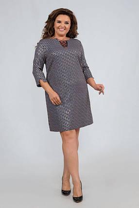 """Стильное женское платье с V-вырезом ткань """"Хлопок+стрейч(костюмная)"""" 48, 50, 52, 54, 56 размер батал, фото 2"""