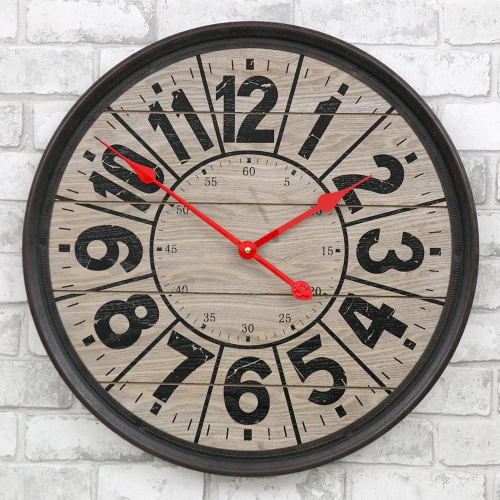 Часы настенные деревянные в стиле ретро  -   Compass Wooden 57 сm