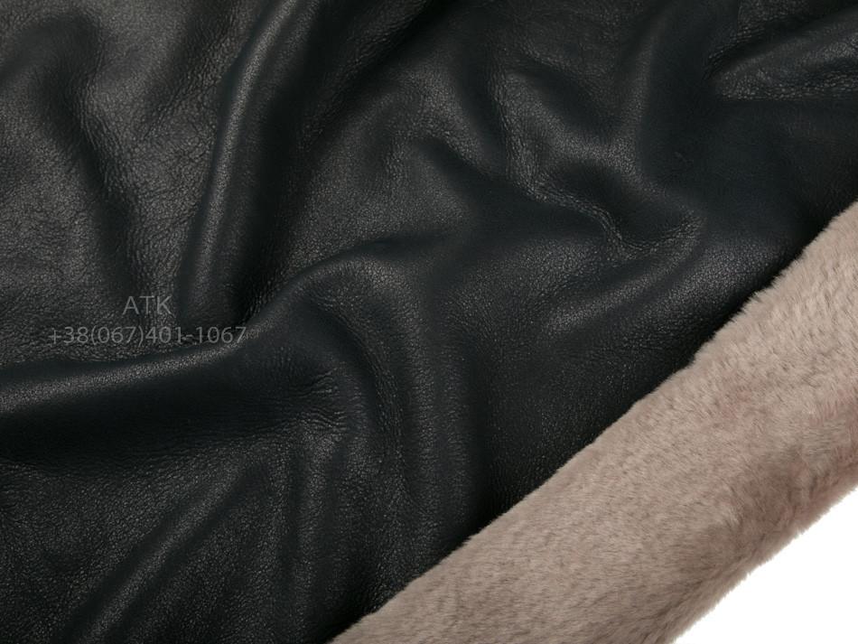 Дубленка Интерфино черная напаллан с бежевым мехом