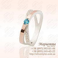 Серебряное кольцо со вставками из золота, фото 1