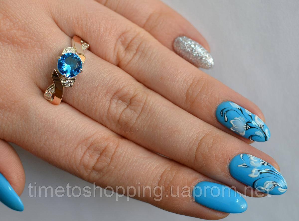 Серебряное кольцо с напайками из золота