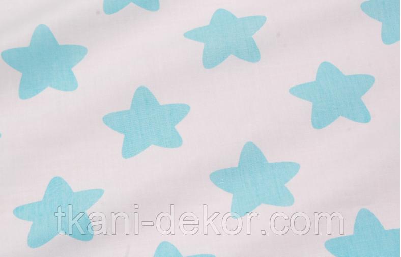 Сатин (хлопковая ткань) мятные  звезды (пряники)