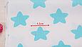 Сатин (хлопковая ткань) мятные  звезды (пряники), фото 3