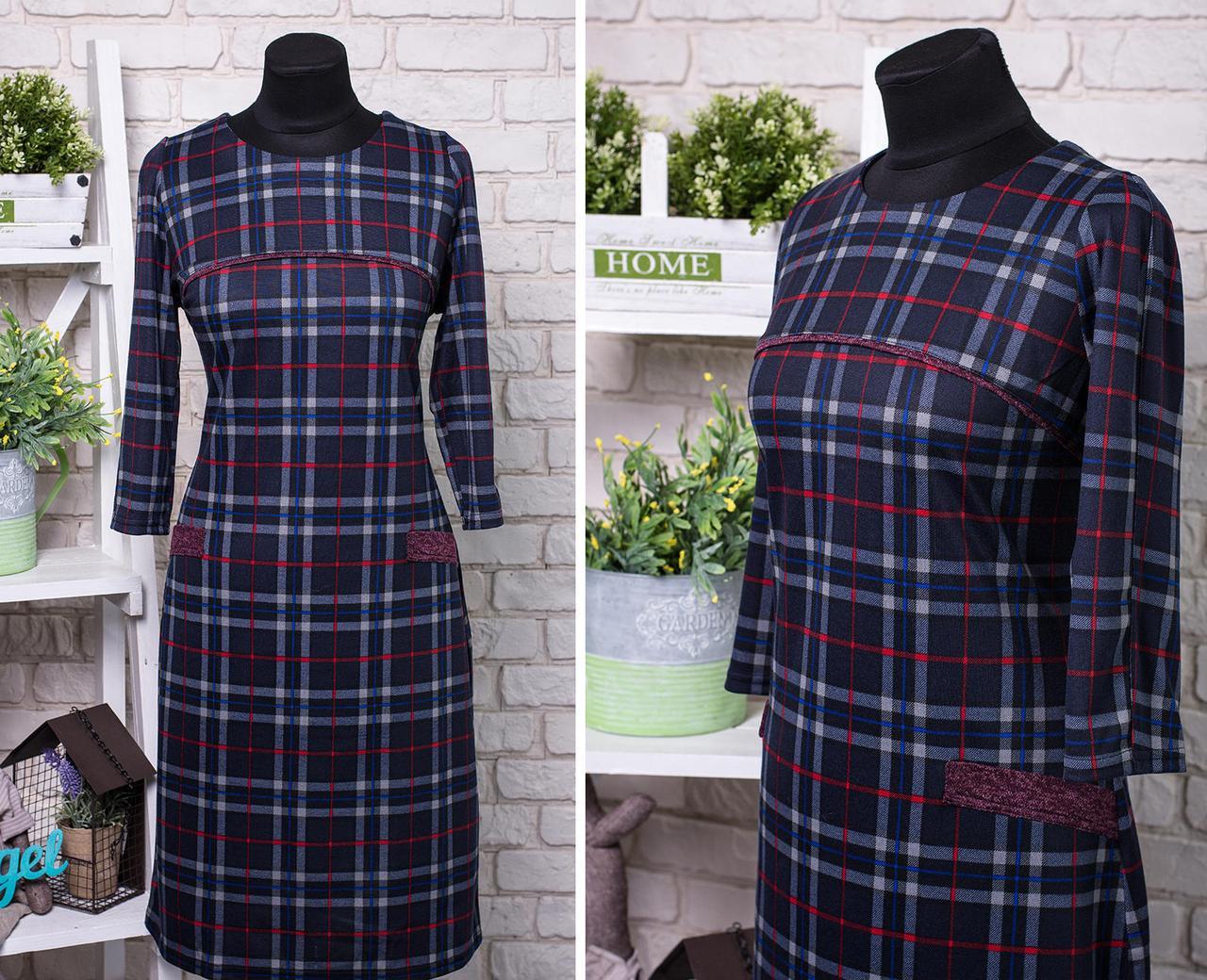 """Комфортное женское платье приятная к телу """"Французский трикотаж"""" 52, 54, 56  размер баталы"""