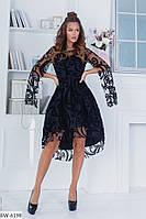 Красивое вечернее платье коктейльное платье на выход до колен рукав и верх декор сетка размер: 42, 44, 46, 48