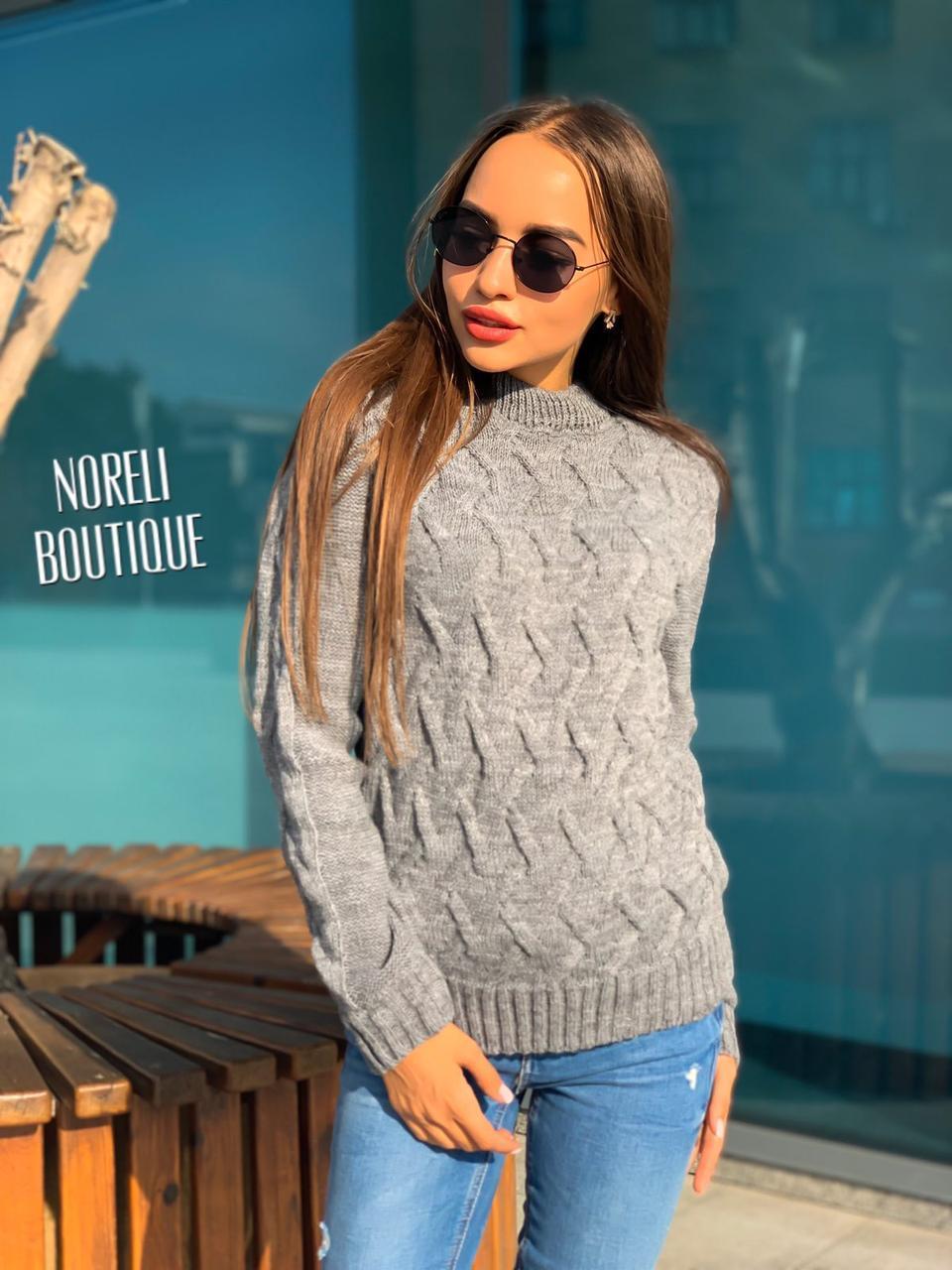 """Жіночий в'язаний светр """"Аран"""", сірий"""