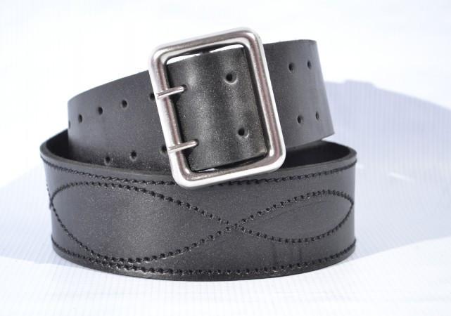 Ремень портупейный   кожаный черный 130 см