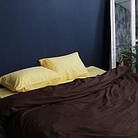 Постельное белье евро поплин PF060 Насыщенный жёлтый/корица Хлопковые традиции