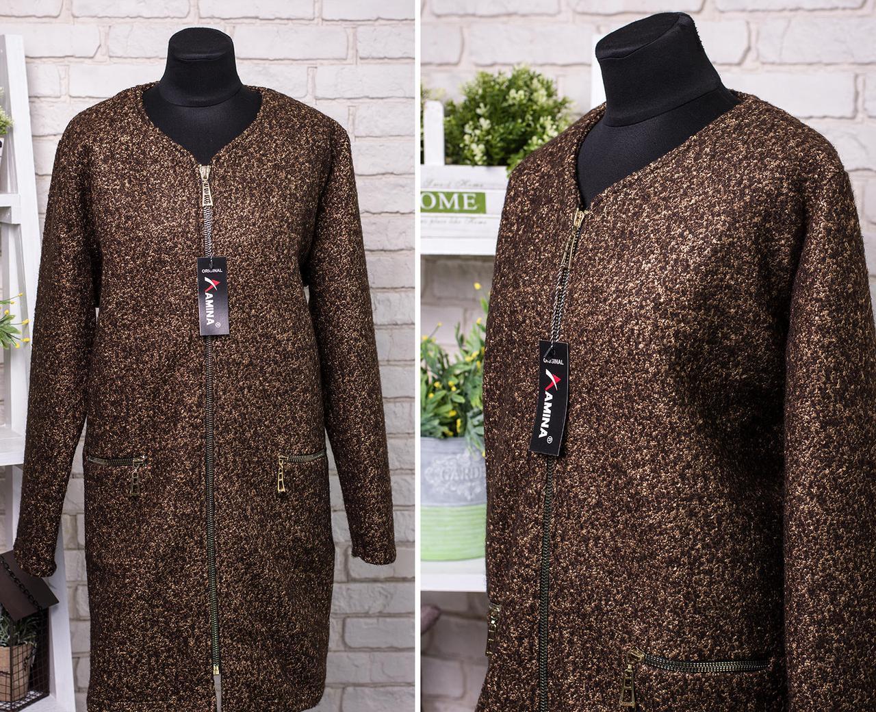 """Шикарное женское пальтишко ткань """"Букле с Шерстяной нитью"""" 56, 58, 60 размер батал"""