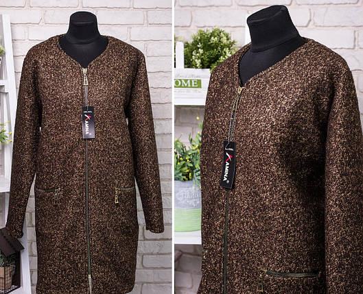 """Шикарное женское пальтишко ткань """"Букле с Шерстяной нитью"""" 56, 58, 60 размер батал, фото 2"""