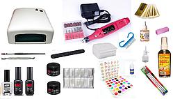 Стартовий набір для нарощування нігтів Pnb Professional + лампа W 36