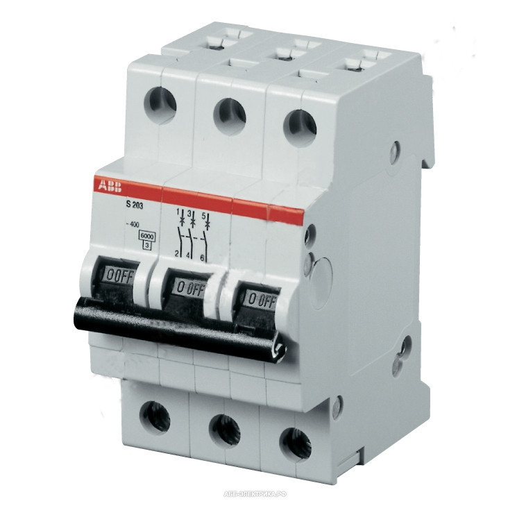 Автоматический выключатель ABB S203-C10 (3п, 10A, Тип C, 6kA) 2CDS253001R0104