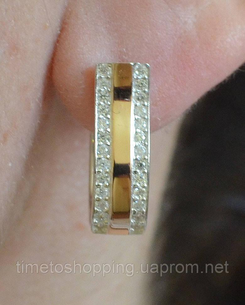 Серебряные сережки с золотом