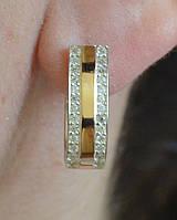 Серебряные сережки с золотом, фото 1