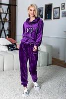 Велюровый костюм женский фиолетового цвета, костюм шикарный воротник-хомут