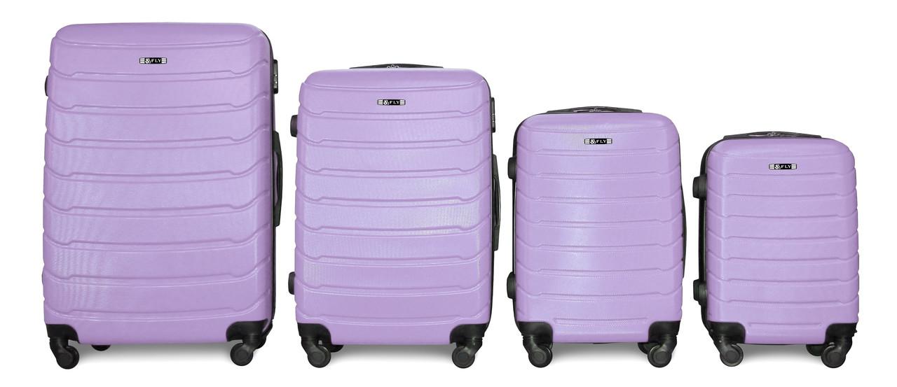 Набор чемоданов 4 штуки в 1 Fly 147 на 4 колесах Светло-фиолетовый