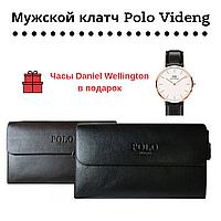 Мужской клатч барсетка Polo Videng+часы  Daniel Wellington в подарок