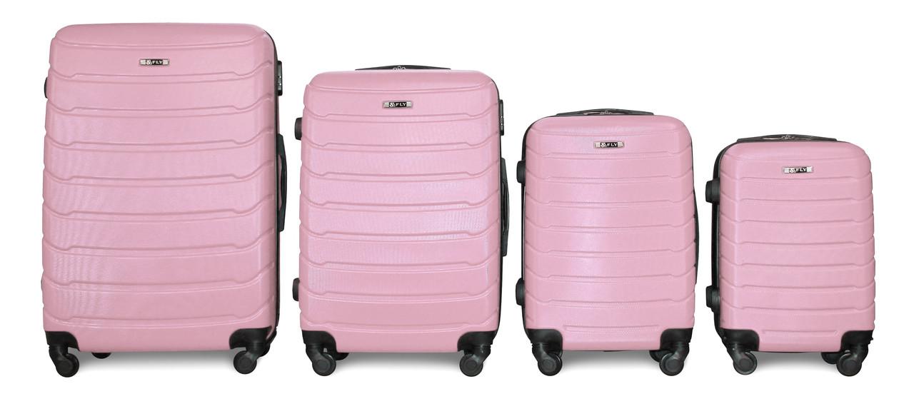 Набор чемоданов 4 штуки в 1 Fly 147 на 4 колесах Розовый