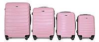 Набор чемоданов 4 штуки в 1 Fly 147 на 4 колесах Розовый, фото 1