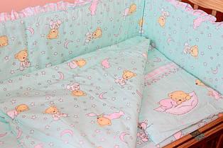 Пододеяльник 145х105 см Мишка в пижаме мятный