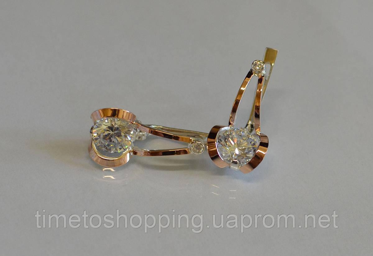Серебряные серьги с пластинами из золота