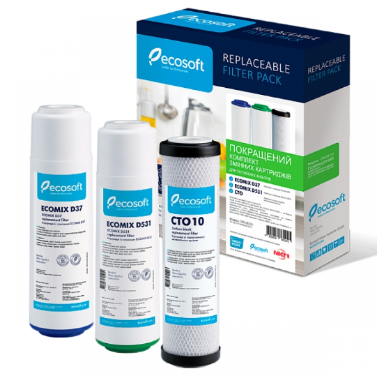 Комплект картриджей Ecosoft Улучшенный для проточных фильтров.