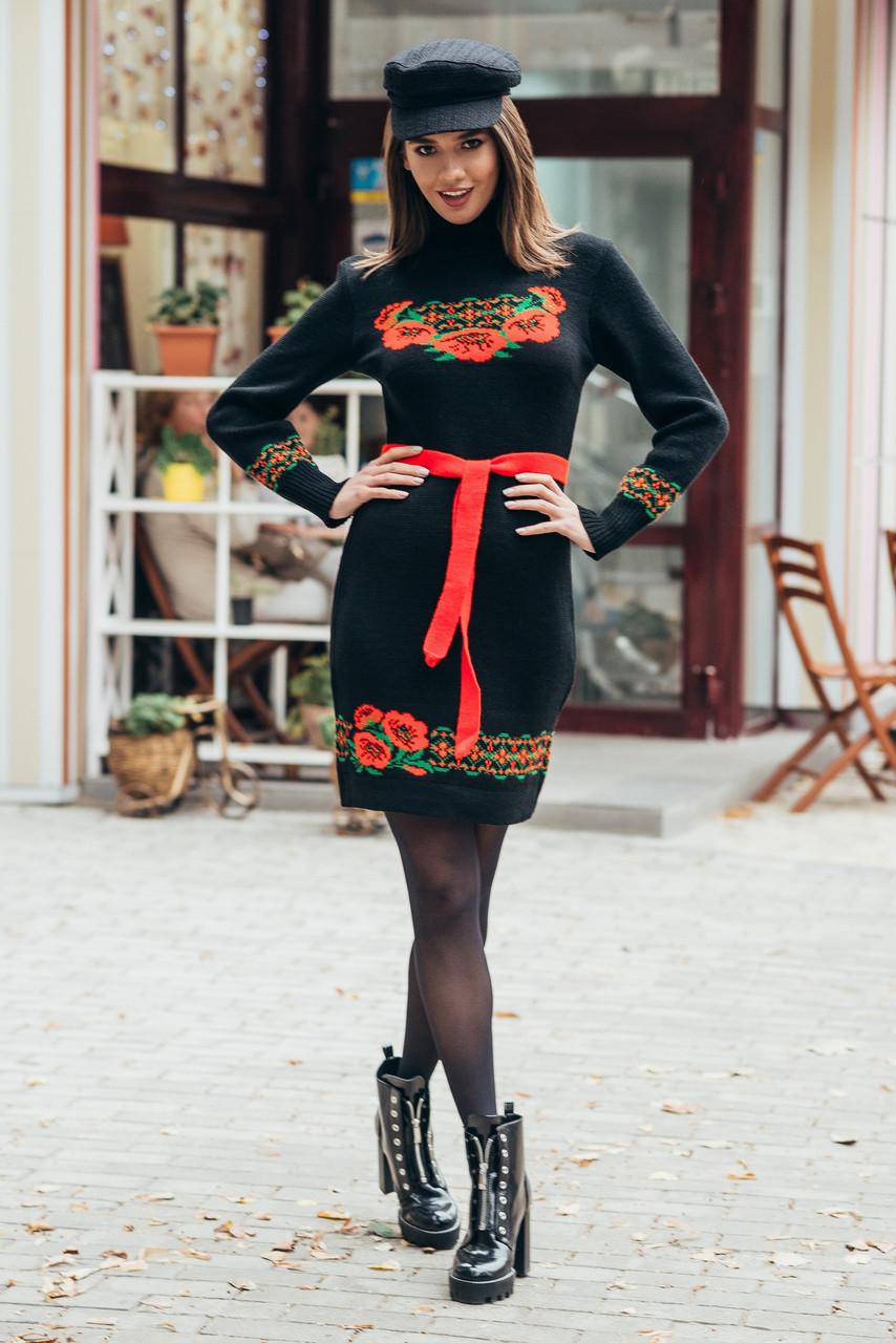 Платье зимнее в украинском стиле, теплое платье в украинском стиле вышиванка 44-52