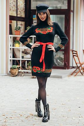 Платье зимнее в украинском стиле, теплое платье в украинском стиле вышиванка 44-52, фото 2