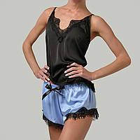 Женская пижама шелковая с французским кружевом Bl-1006 черно/голубая, фото 1