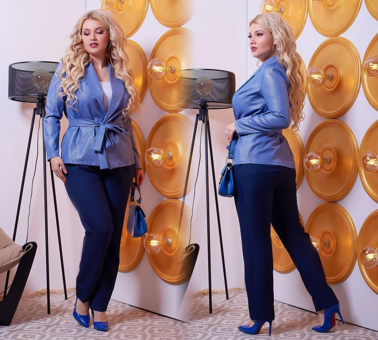 """Шикарный женский костюм двойка Брюки+блуза """"Костюмная"""" 48, 54, 56, 60, 62 размер батал"""