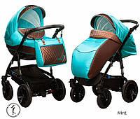 Детская универсальная коляска 2 в 1 Ajax Group Viola Mint (коричневый+бирюза (85/x99)