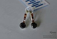 Серебряные серьги с напайками из золота, фото 1