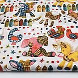 """Отрез ткани """"Куры, гуси и овечки из лоскутков"""" на белом фоне (1599а), размер 67*160, фото 2"""
