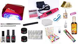 Стартовий набір для нарощування нігтів Pnb Professional + УФ лампа LED+CCFL 36 W