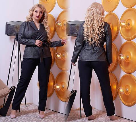 "Шикарный женский костюм двойка Брюки+блуза т ""Костюмная"" 58, 60, 62 размер батал, фото 2"