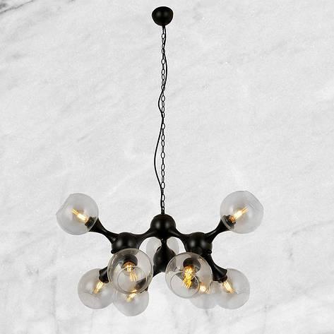 Молекулярная чёрная люстра на цепи с прозрачным стеклом, фото 2