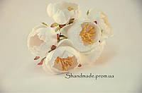 Пион декоративный для заколок и декораций белого цвета 3 см