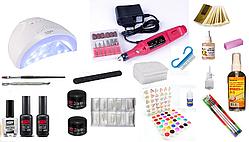 Стартовий набір для нарощування нігтів Pnb Professional + UVLED лампа для гель-лаку SUNONE 48W