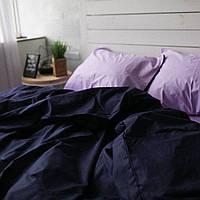 Постельное белье семейное поплин PF015 лаванда/тёмно-синий Хлопковые традиции