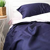 Постельное белье семейное поплин PF022 темно-синий/пудра Хлопковые традиции, фото 1