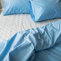 Постельное белье семейное поплин PF023 звёзды на белом фоне/голубой Хлопковые традиции, фото 1